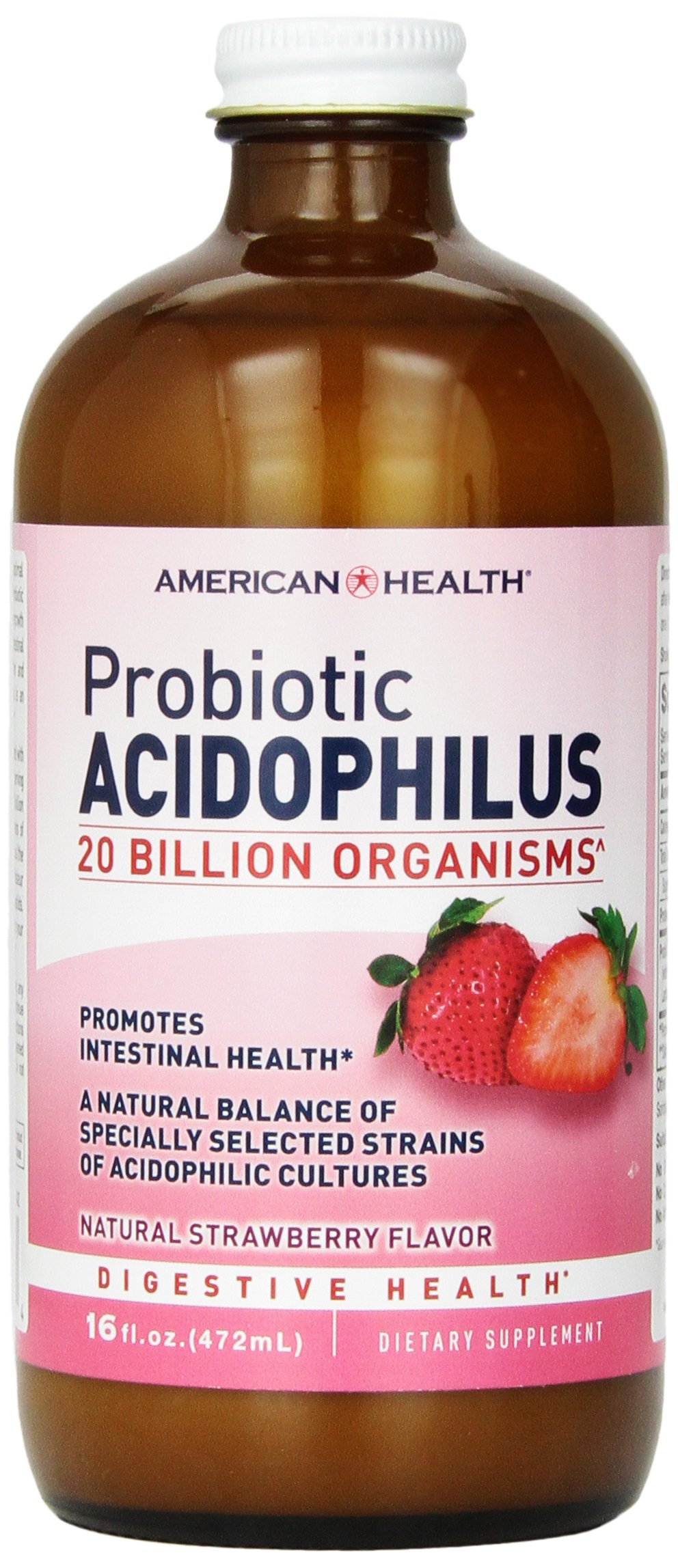 American Health Probiotic Acidophilus Liquid, Strawberry, 16 Ounce