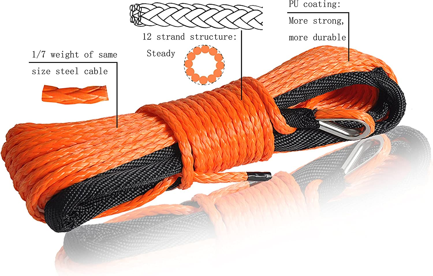 Orange 3//1650ft Synthetic ATV Winch Rope ATV Winch Line Synthetic Winch Cable
