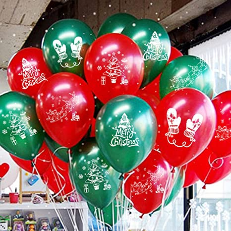 RUBFAC 100 Pieces Christmas Latex Balloons Confetti Balloons Red, Green, Various Confetti Christmas Valentines Day and Other Party Decorations 12 Inches