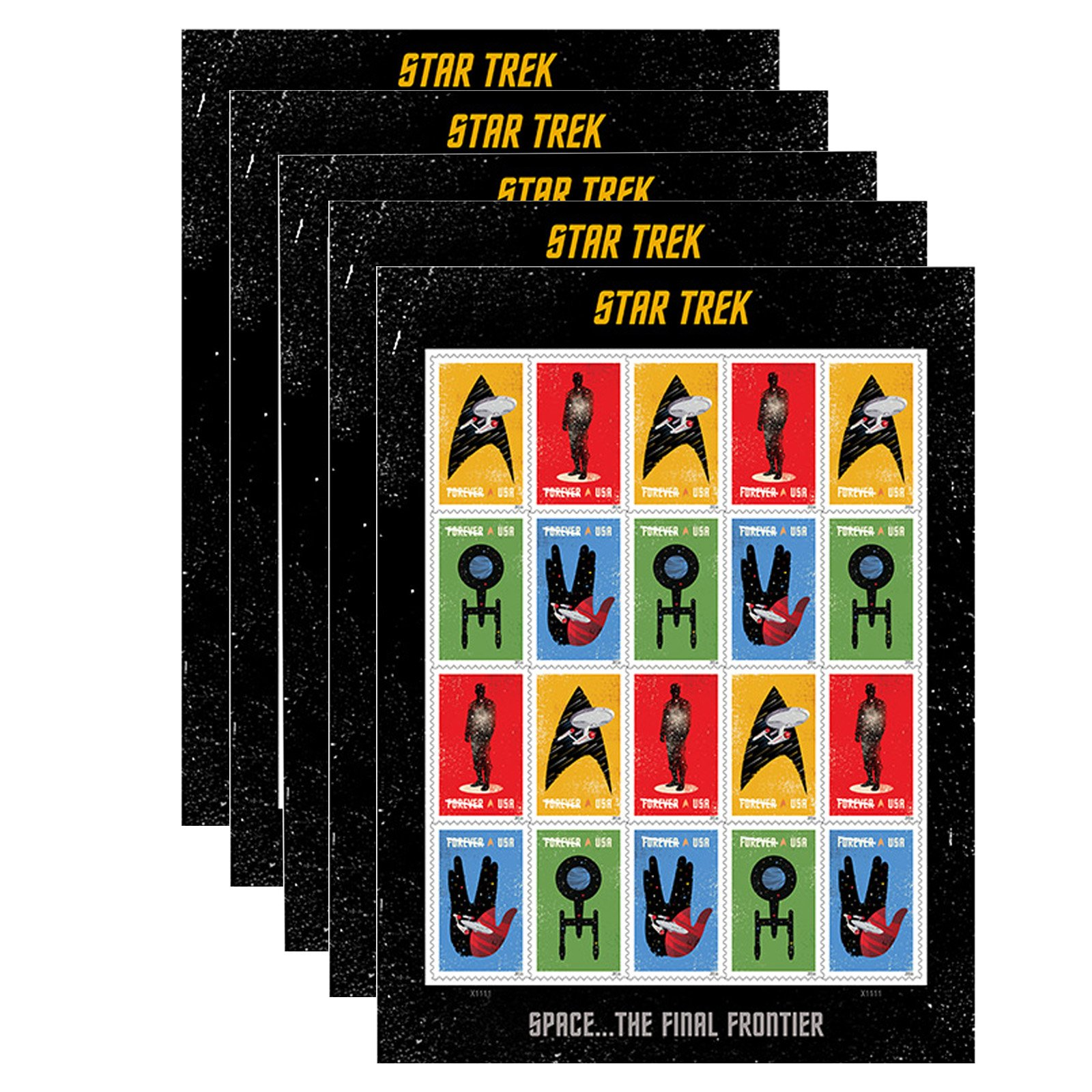 20 Star Trek USPS Forever First Class Postage Stamps Enterprise classic TV (5 sheets of 20 stamps)