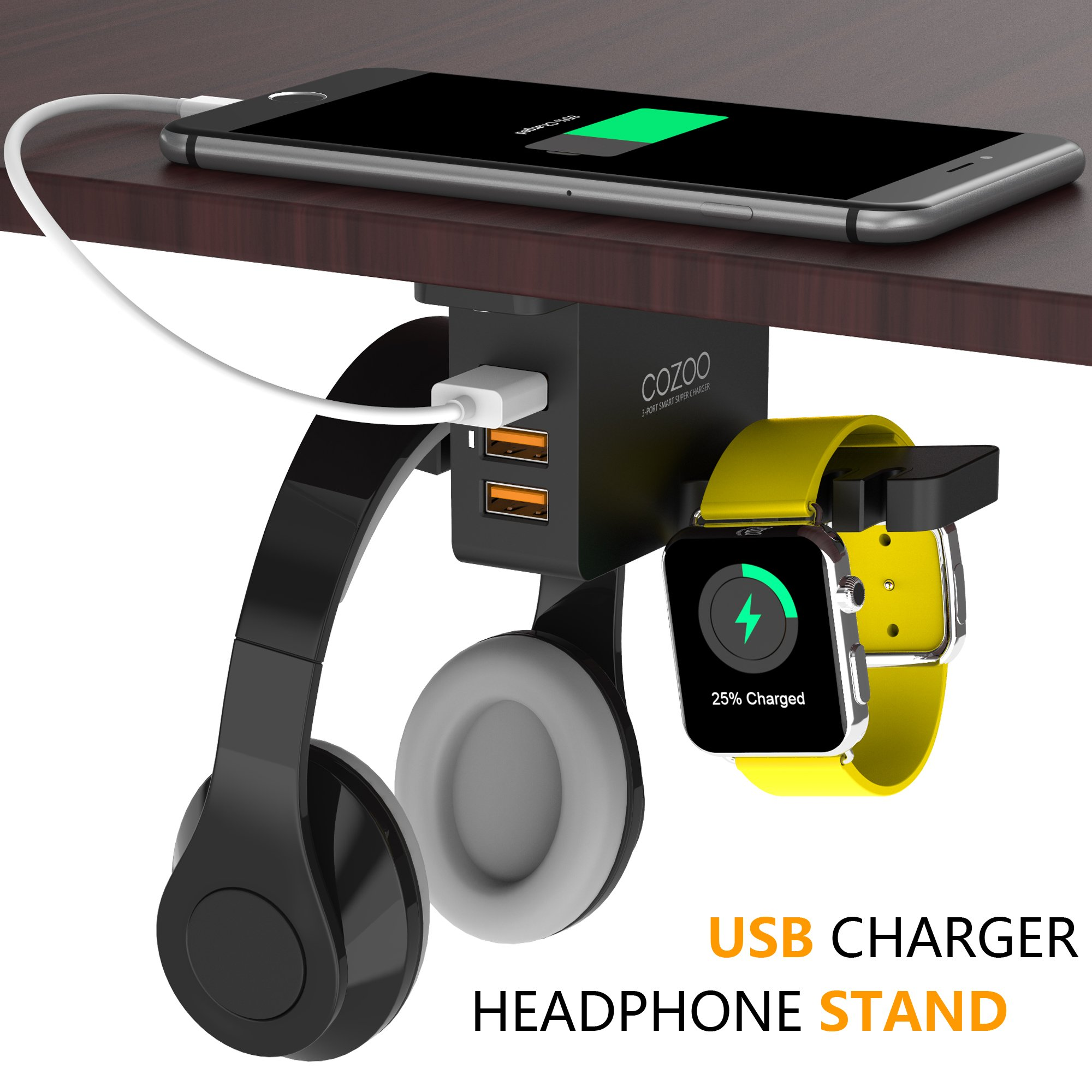 Headphone Stand with USB Charger COZOO Under Desk Headset Holder Mount with 3 port USB Charging Station and Apple Watch Stand Smart Watch Charging Dock Dual Earphone Hanger Hook for All Headphones by cozoo