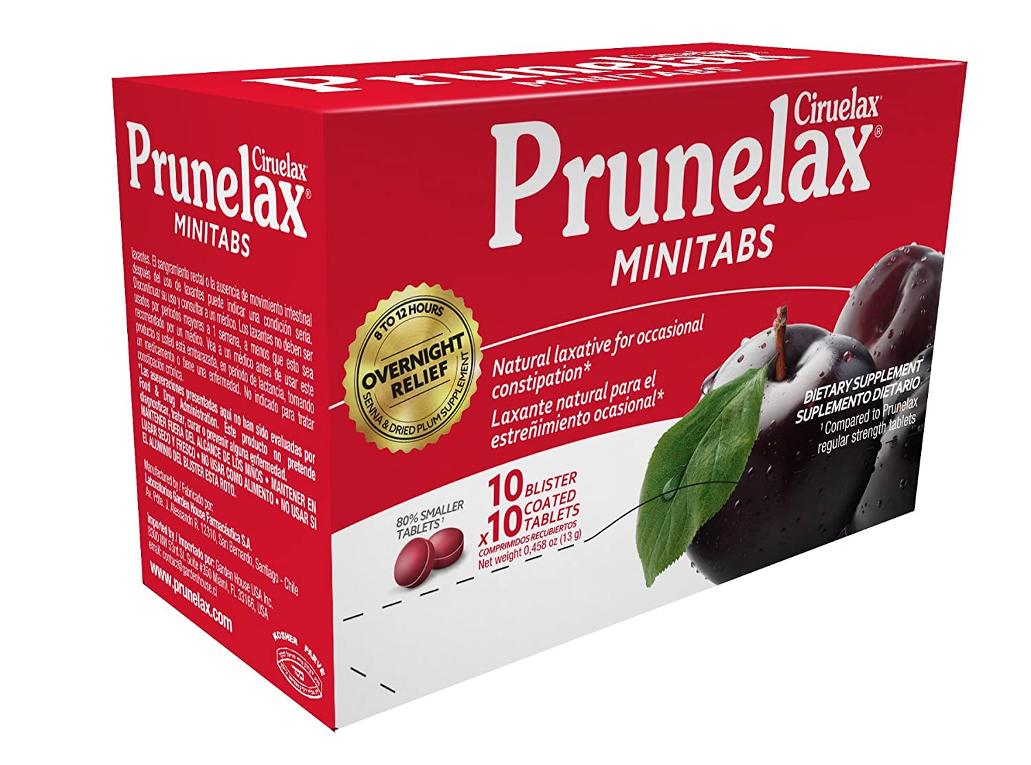 Amazon.com: Prunelax Ciruelax Minitabs, Natural Laxative, 100 Count: Health & Personal Care