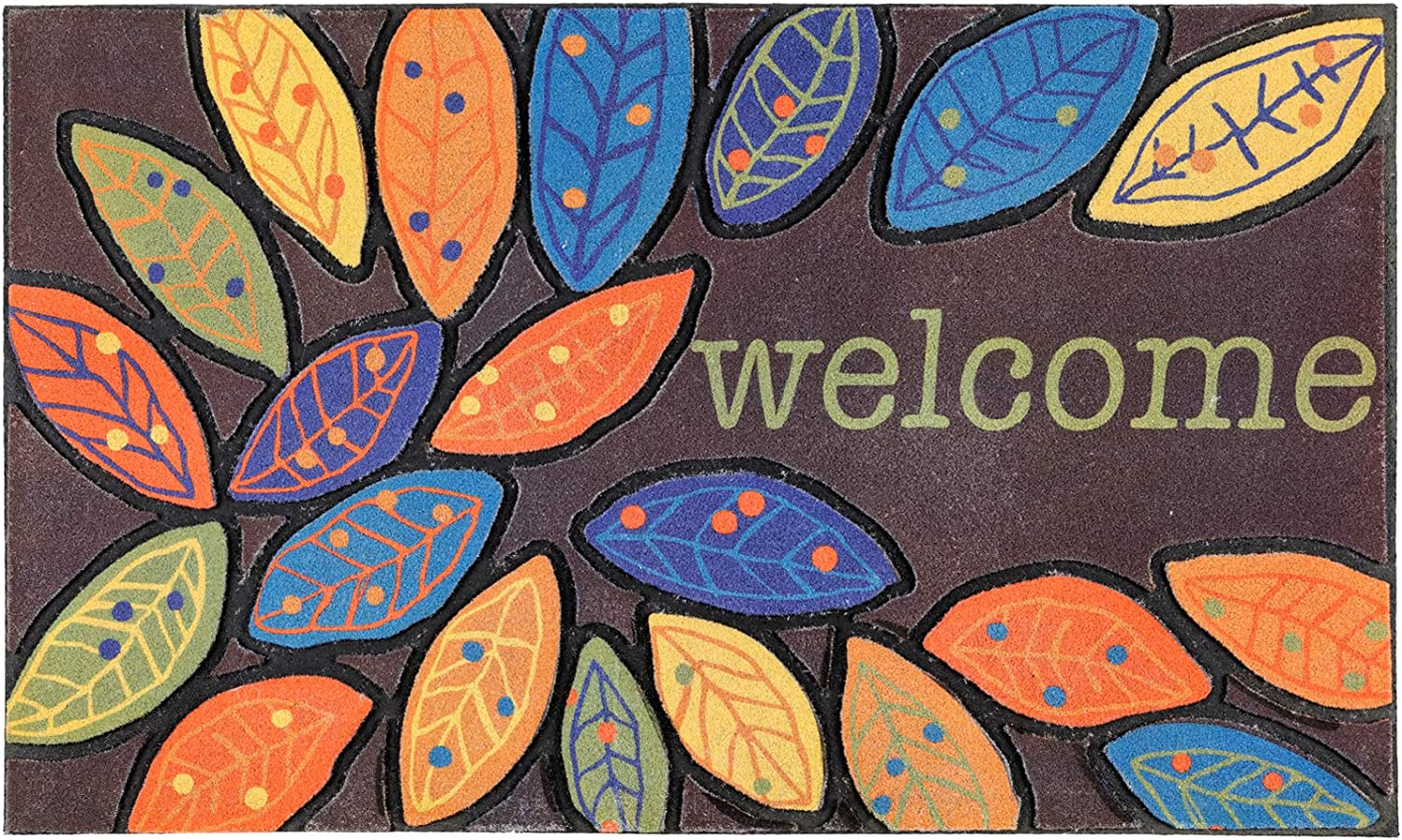 CHICHIC Door Mat Welcome Mat Front Door Mat Outdoor for Home Entrance Outdoor Mat for Outside Entry Way Doormat Entry Rugs, Heavy Duty Non Slip Rubber Back Low Profile, 18 x 30 Inch, Leaves