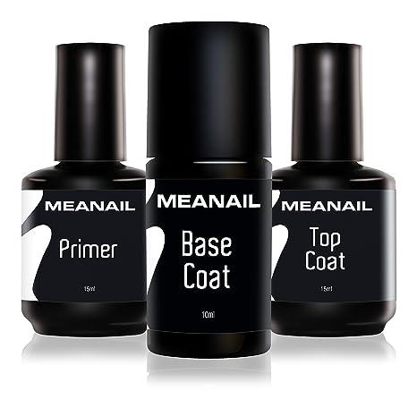 Primer Base Top Coat Permanente Uñas Gel UV LED Manicura Pedicura Ideal para Lampara Secador de Uñas Esmalte Semipermanente Polygel Gel de ...