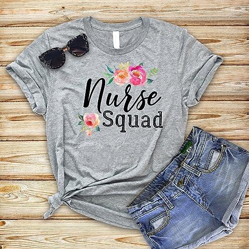 5258d3bb Amazon.com: Nurse Shirt, Nurse Squad, Nursing Shirt, Nurse Gift, Nurse Graduation  Gift, Nursing Student Gift, Soft Bella Cotton Shirts: Handmade