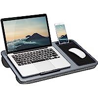 "LapGear Home Office Lap Desk - Silver Carbon (Fits up to 15"" Laptop),91585"