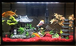 Classic oriental tower plants aquarium for Asian fish tank decorations