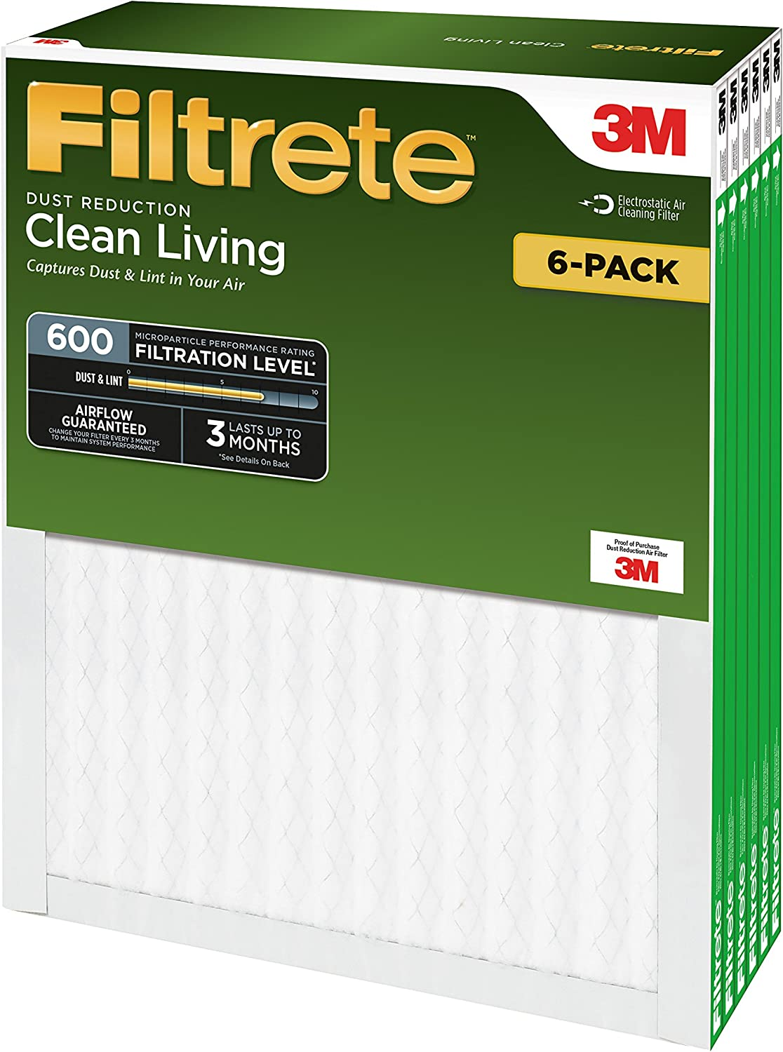 MPR 600 12 x 12 x 1-Inches Filtrete Clean Living Dust Reduction AC Furnace Air Filter 6-Pack
