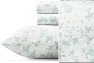 Laura Ashley Home | Sateen Collection | Bed Sheet Set - 100% Cotton, Silky Smooth & Luminous Sheen, Wrinkle-Resistant Bedding, King, Garden Palace