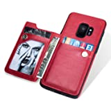 Ostop Wallet Case for Samsung Galaxy S9,Red PU