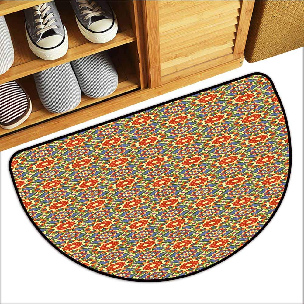 TableCovers&Home Scraper Entrance Mat, Geometric Decorative Imdoor Rugs for Office, Floral Pattern Warm Tones Abstract Arabic Culture Inspired Ethic Tribal Motifs (Multicolor, H20 x D32 Semicircle)