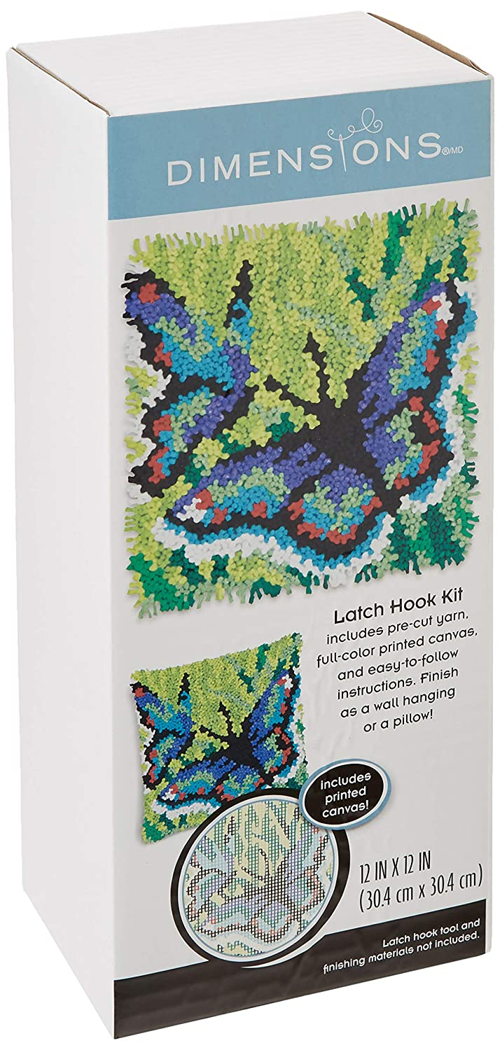 Dimensions Arts and Crafts Butterflies Latch Hook Kit 12L x 12H