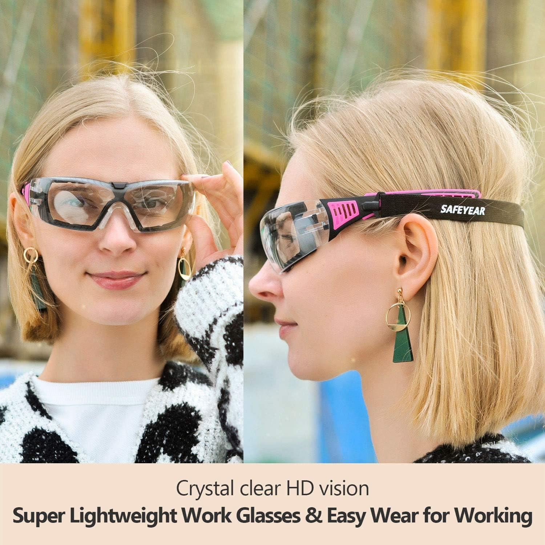 SAFEYEAR Safety Glasses Work Goggles Female Women Girl Anti Fog UV Head Strap
