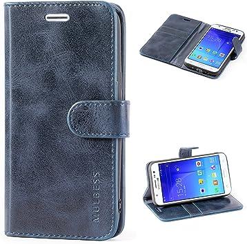 Mulbess Funda Samsung Galaxy J5 2015 [Libro Caso Cubierta] [Vintage de Billetera Cuero] con Tapa Magnética Carcasa para Samsung Galaxy J5 2015 Case, Azul Marino: Amazon.es: Electrónica