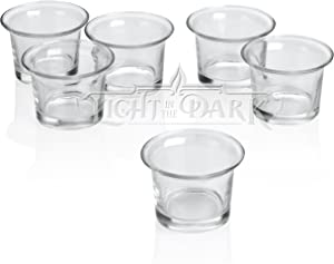 Light In The Dark Clear Glass Lip Votive Candle Holders Set of 12