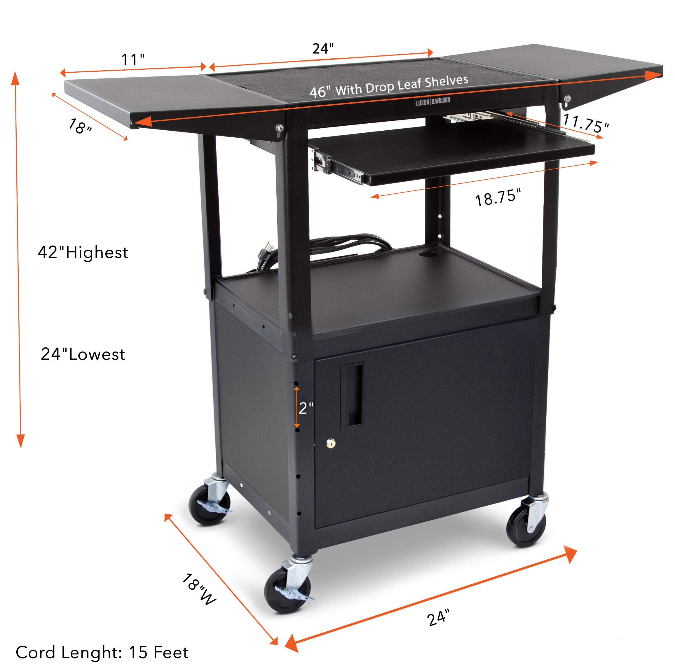 Line Leader AV Cart with Locking Cabinet and Drop Leaves | Height Adjustable Utility Cart with Extra Storage | Power Strip and Cord Management | Great for Presentations! (Black / 46'' x 18'') by Stand Steady (Image #6)