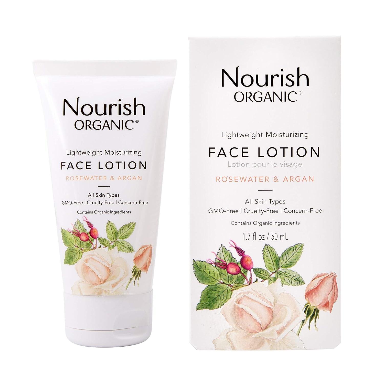 Nourish Organic Lightweight Moisturizing Face Lotion, Rosewater & Argan, 1.7 Ounce