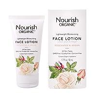 Nourish Organic | Lightweight Moisturizing Face Lotion - Rosewater & Argan | GMO-Free, Cruelty Free, 100% Vegan (1.7oz)