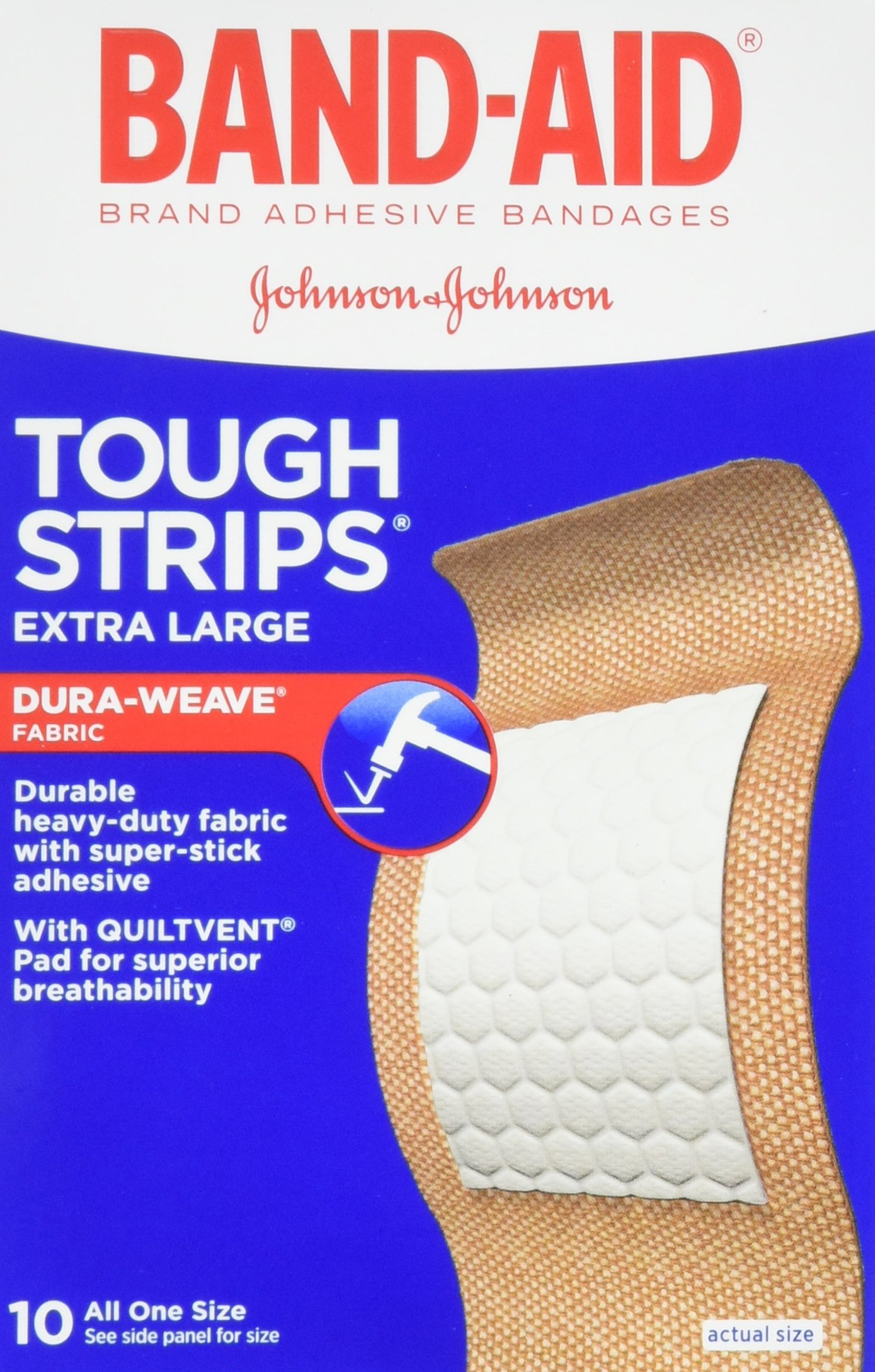 Band-Aid Brand Adhesive Bandages, Tough-Strips, Extra Large (1.75-Inch Wide), 10-Count Bandages (Pack of 6) by Band-Aid (Image #1)