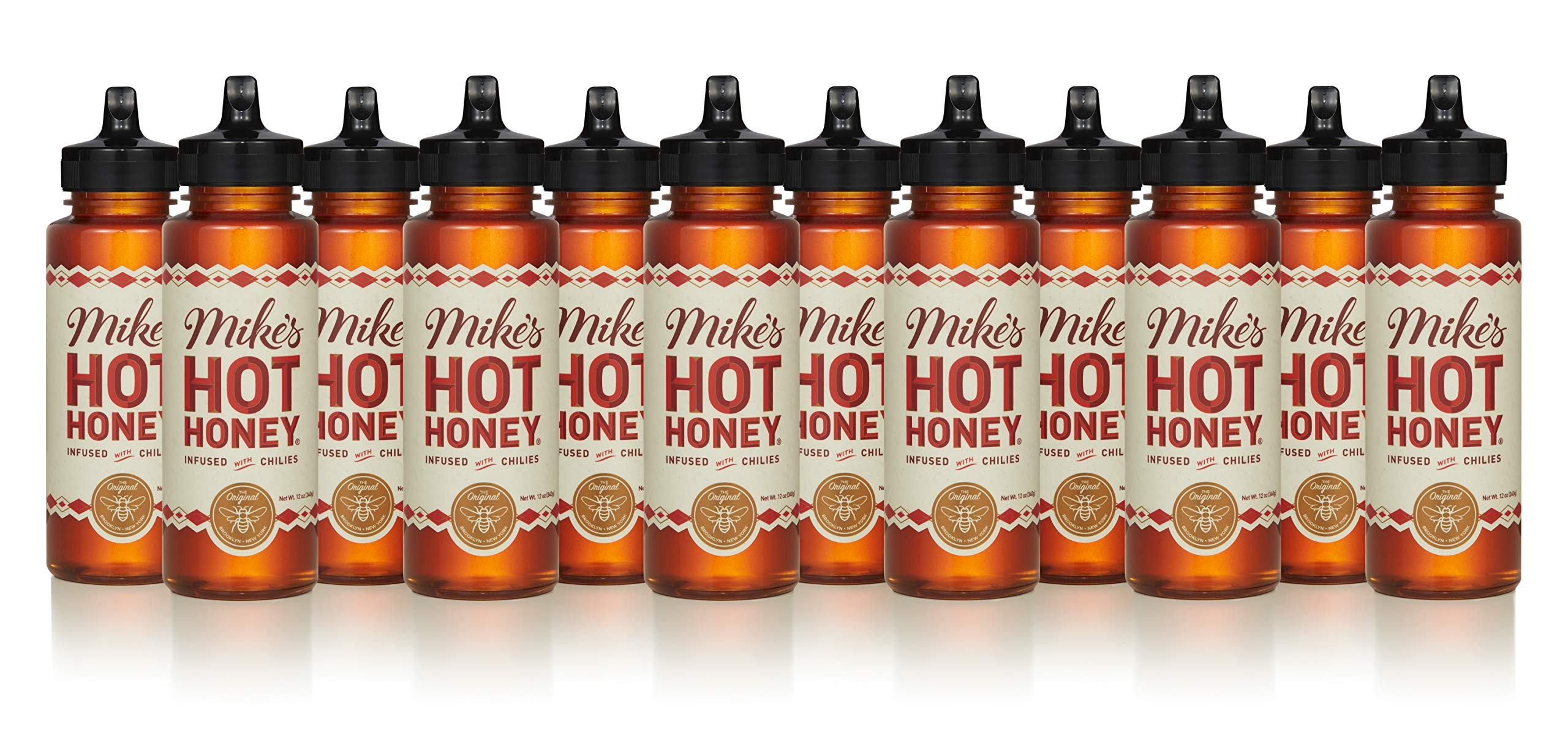 Mike's Hot Honey 12 oz. (12 Pack) | Spicy & Sweet | Sustainably Sourced USA Honey | Paleo & Gluten-Free | Perfect on Pizza, BBQ, Veggies, & More!