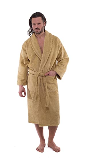 Classic Turkish Towel Classic Turkish Cotton Towel Thick Luxurious Shawl  Collar Bathrobe Beige Small (5 e42ad11af