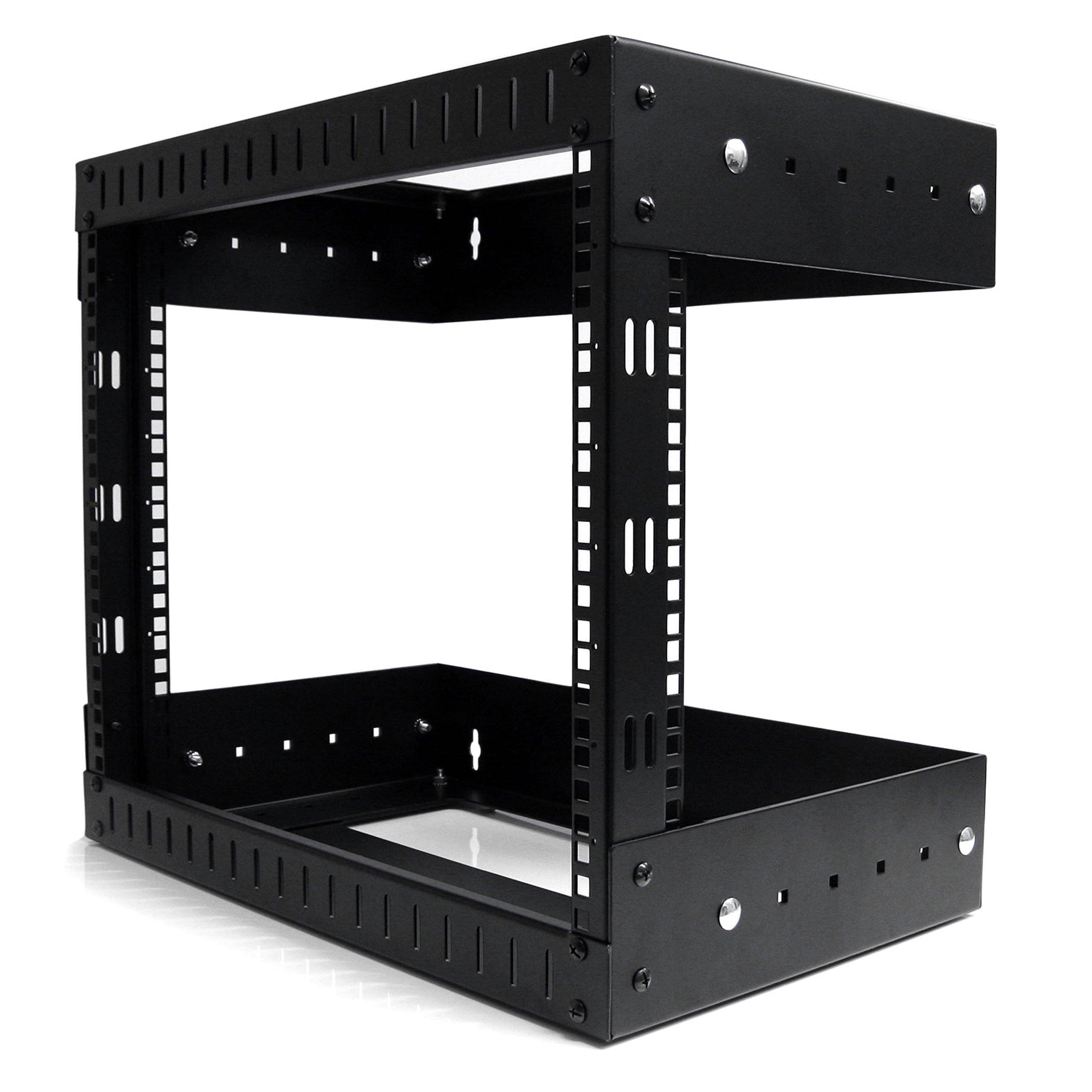 StarTech.com 8U Open Frame Wall Mount Equipment Rack - Adjustable Depth RK812WALLOA (Black)