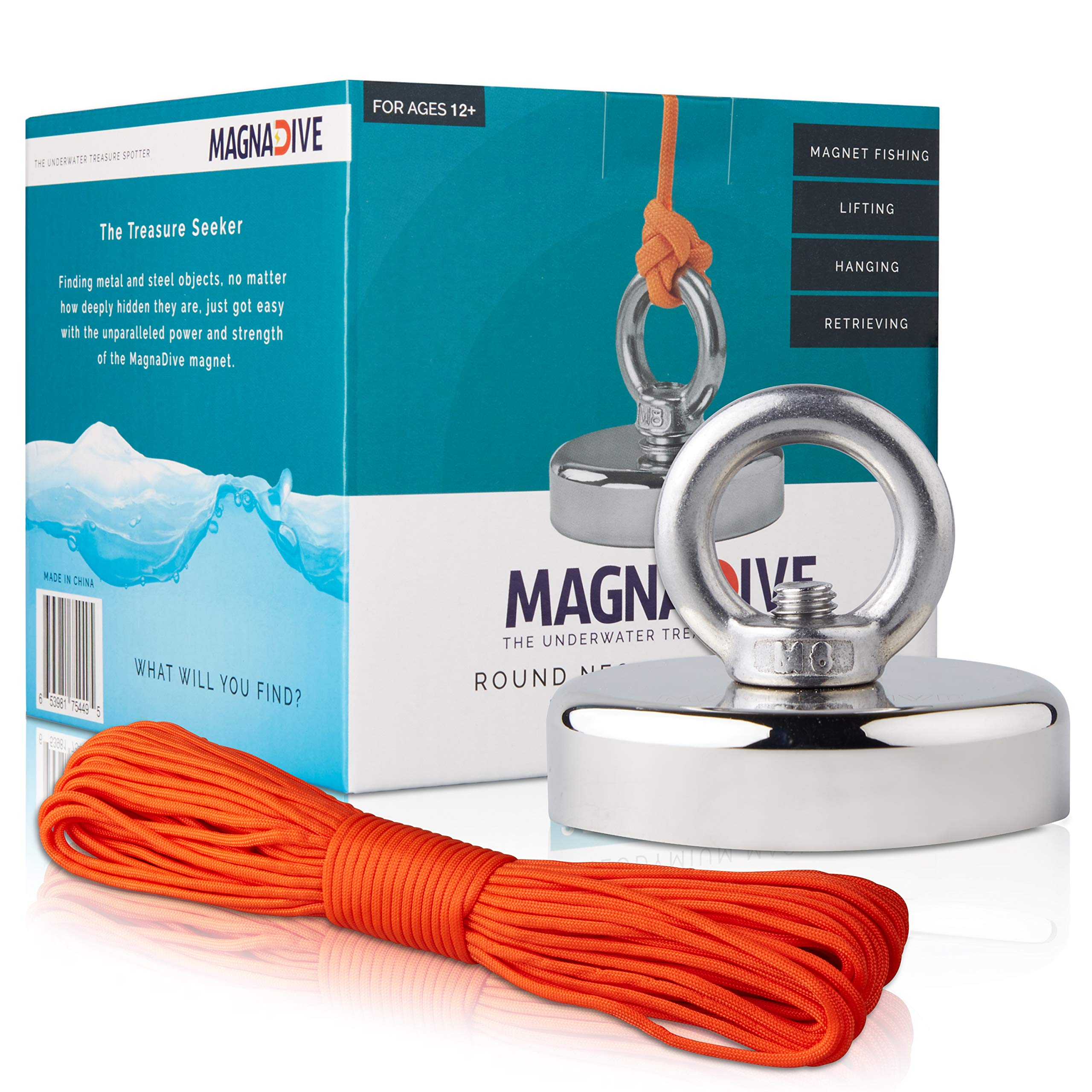 MAGNADIVE Fishing Magnet with Rope - 250 LBS Pulling Force Super Strong Neodymium Magnet - with Eyebolt and Countersunk Hole - and Nylon Paracord 100 ft. Long.