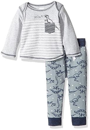 792eb7824d Amazon.com  Mud Pie Baby Boys  Dinosaur Stripe Long Sleeve Two Piece ...