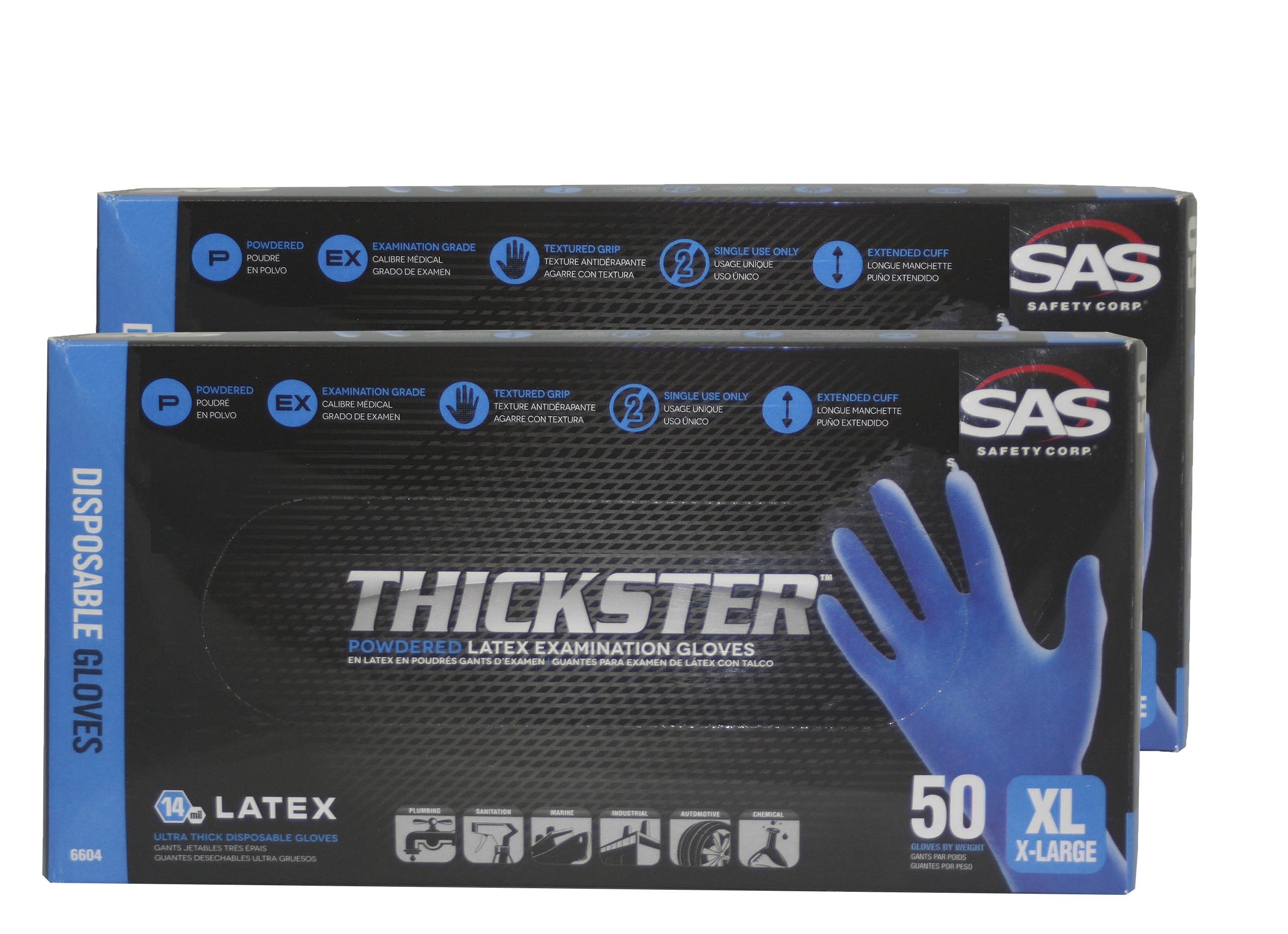SAS 6604 (2 boxes) Thickster Textured Safety Latex Gloves, X-Large