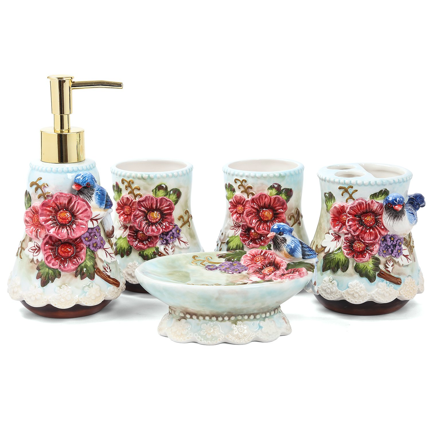 FORLONG Ceramic Bathroom Accessory Set Dancing Butterfly Ceramic 5 Pieces Set, Including Toothbrush Holders, 2 Gargle Tooth-Brushing Cups, Soap Dishes, Soap & Lotion Dispenser FL-3001-Dancing Butterfly