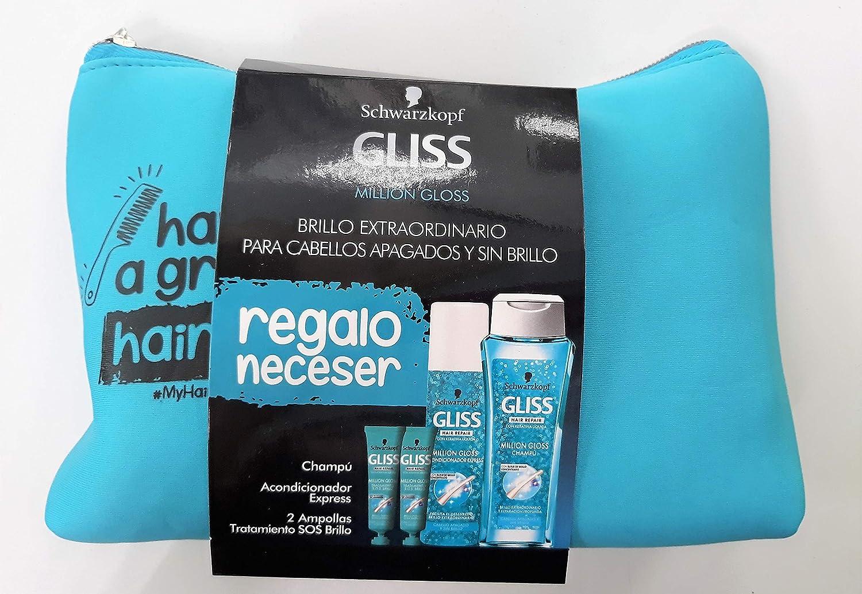 Schwarzkopf Gliss Million Gloss Set Champú 250 ml + Acondicionador 200 ml + Ampollas SOS 2x20 ml + Neceser