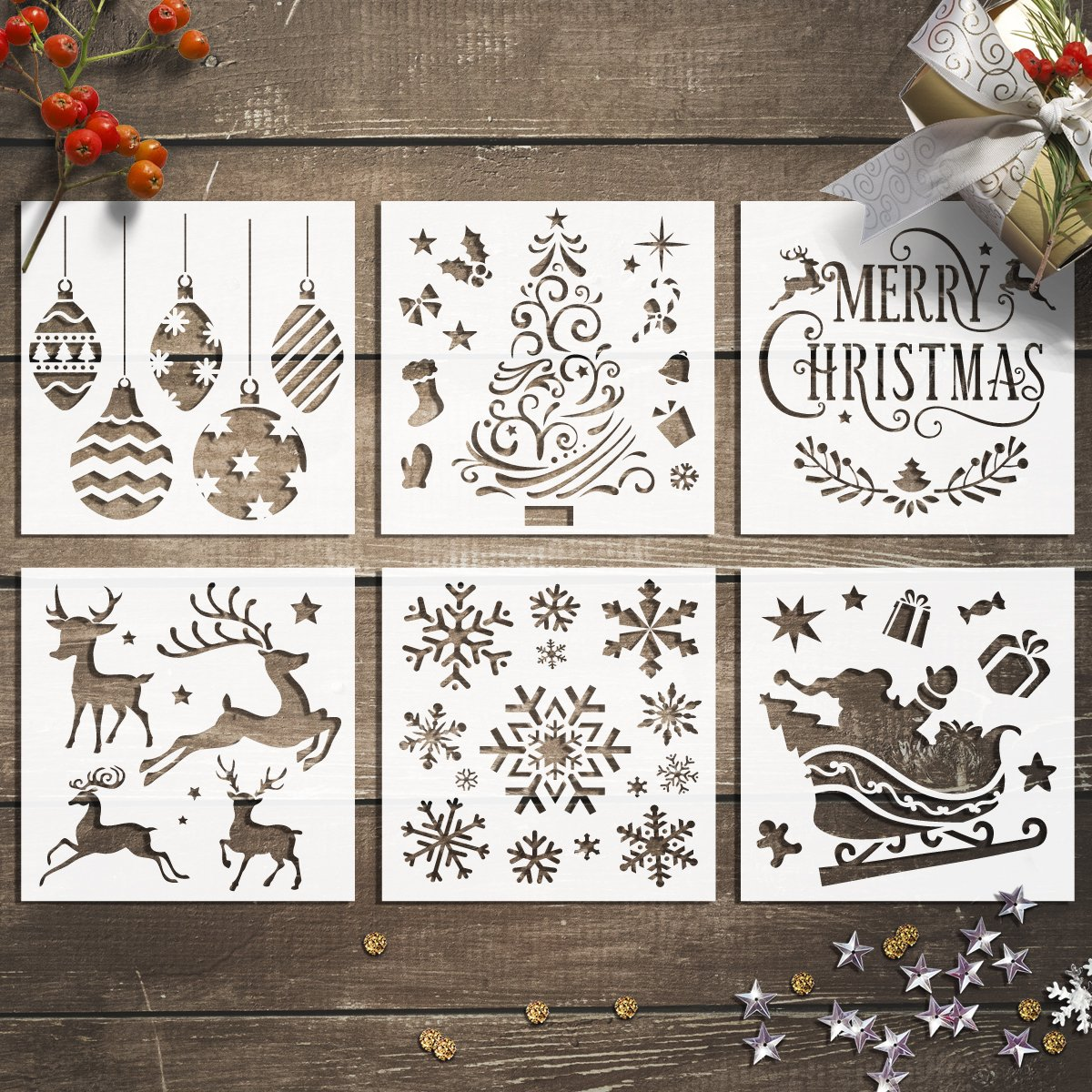 GSS Designs Christmas Stencils Template Pack of 6 -Merry Christmas, Santa Claus, Christmas Tree, Snowflakes, Bulbs, Reindeers for Christmas Decoration 6X6 inch DIY Craft Template Cookie Stencils G GSS Designs