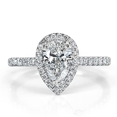 3ce8f14a7eaf Mark Broumand 1.42ct Pear Shaped Diamond Engagement Ring