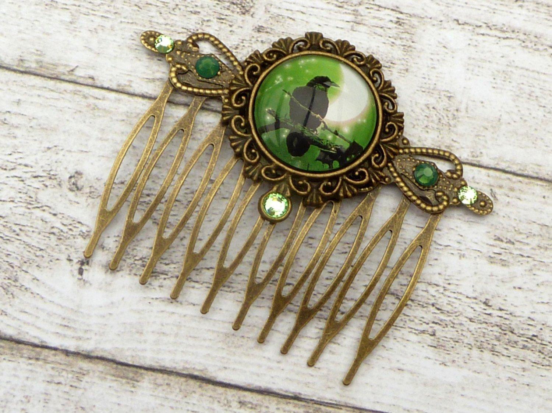 Gothic Haarkamm mit Rabe in grün bronze