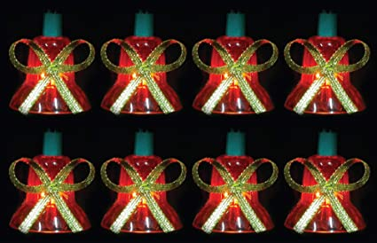 northlight set of 40 red musical bell multi function christmas lights green wire