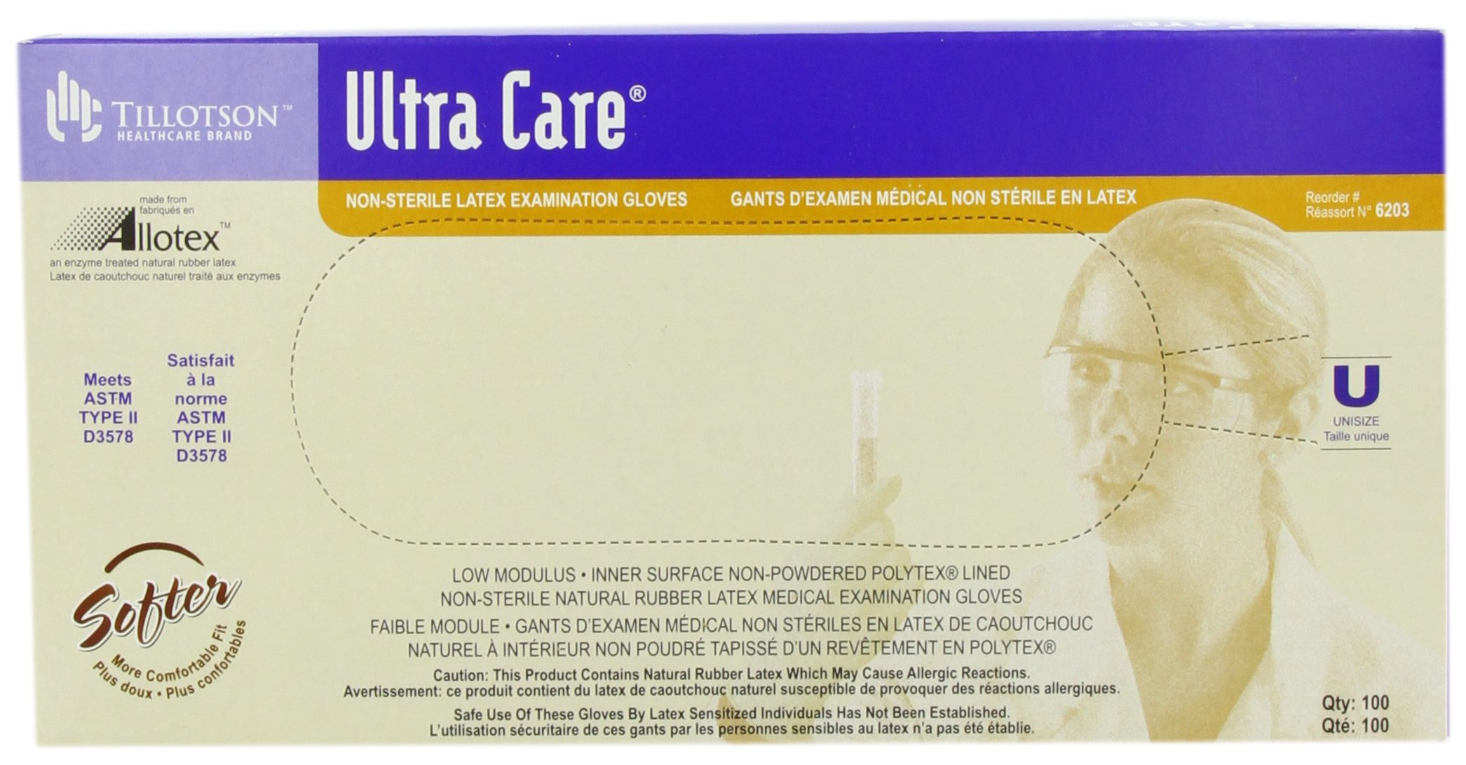 Tillotson Ultra Care Latex Exam Gloves, Unisize, 100 Count