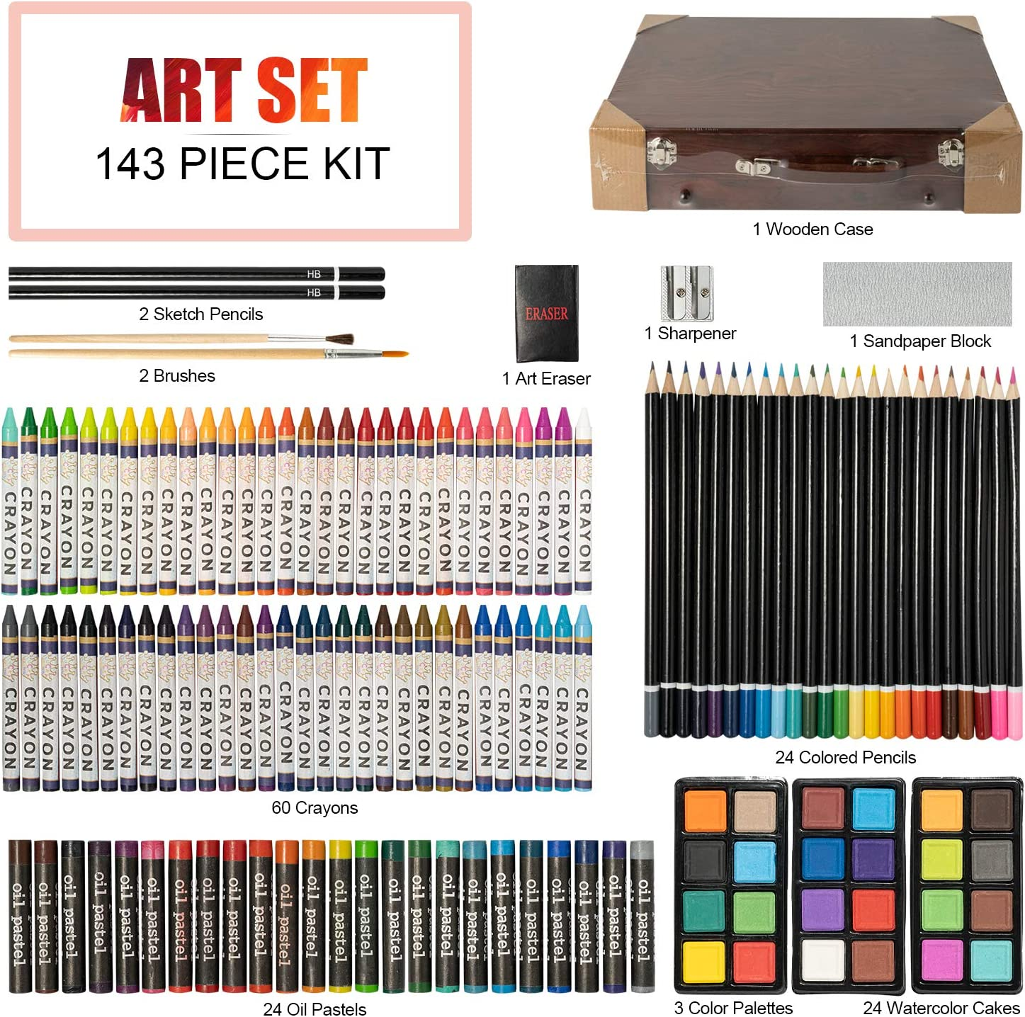 Artist Drawing/&Painting Set Teens and Adults Art Supplies with Wooden Case 148 Piece Deluxe Art Set Professional Art Kit for Kids