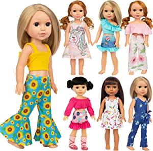 Ecore Fun 7 Sets American 14.5 Inch Doll Clothes Outfits Dresses Skirts Jumpsuit for 14 Inch Girl Dolls and 14.5 Inch Dolls Clothes