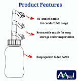 AVAbay Peri Bottle Hygienic Sprayer - 15.2oz Travel Bottle - Including Extended Nozzle with Discreet Storage Bag - Personal Hygiene Care for Perineal Recovery/PostPartum Care
