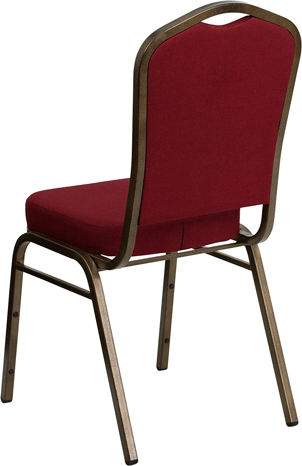 Gold Vein Frame HERCULES Series Crown Back Stacking Banquet Chair in Burgundy Fabric Flash Furniture 4 Pk