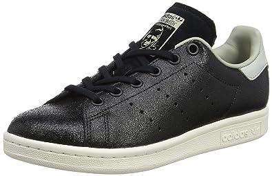 adidas Stan Smith Fashion, Baskets Mixte Enfant, Noir Core Black/Sésame, 35.5