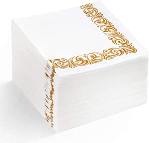 White & Gold Floral Paper Cocktail Napkins – Reusable/Disposable Fancy Flowered Paper Napkins For Bathroom - MOCKO | Tea Napkins Paper – Dinner Paper Napkins Decorative White For Wedding Reception