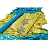 Monika Silk Mill Premium Chanderi Silk Dress Material-Salwar Suit with Embroidery Work (Blue and Yellow, Semi Stitched)