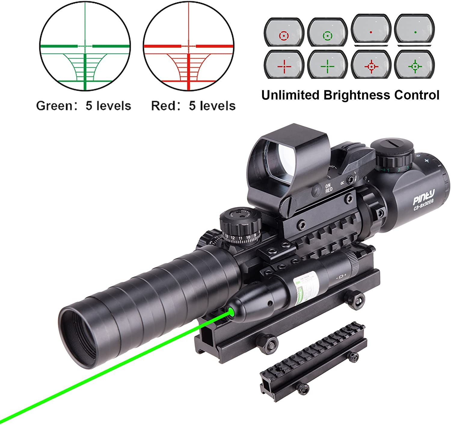 Pinty Rifle Scope 3-9×32 Rangefinder Illuminated Reflex Sight 4 Reticle Green Dot Laser Sight with 14 Slots 1 inch High Riser Mount