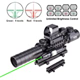 "Pinty AR15 Rifle Scope 3-9x32EG Rangefinder Illuminated Optics Reflex 4 Reticle Red&Green Sight Green Dot Laser Sight with 1"" Compact High Riser Mount"