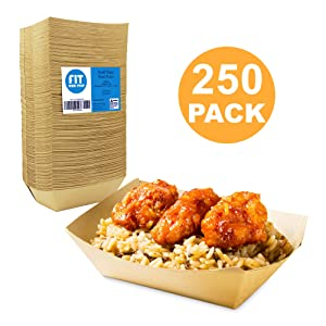 [250 Pack] 1 lb Heavy Duty Disposable Kraft Brown Paper Food Trays Grease Resistant Fast Food Paperboard Boat Basket for Parties Fairs Picnics Carnivals, Holds Tacos Nachos Fries Hot Corn Dogs
