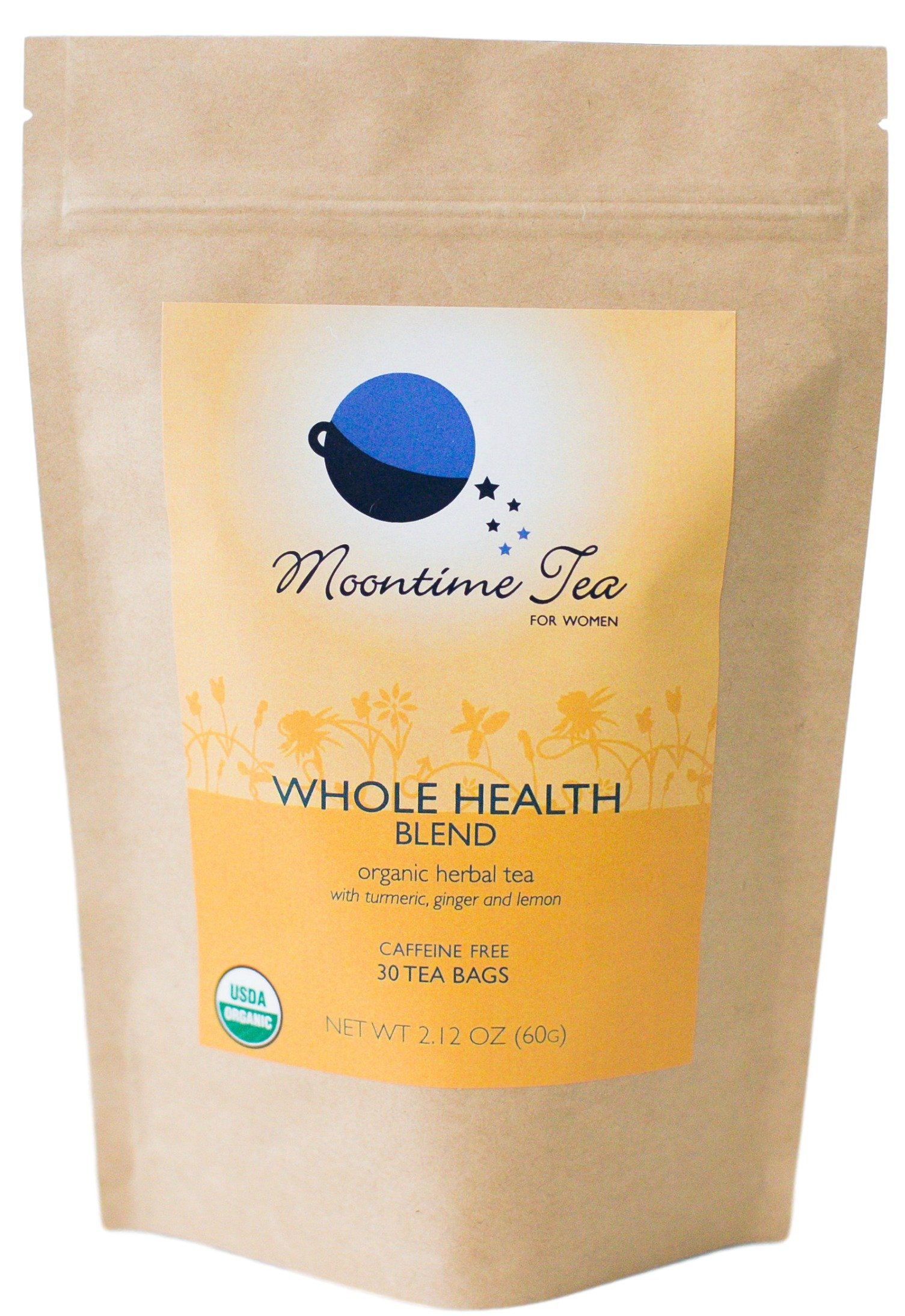 Organic Whole Health Tea, 30 Tea Bags with Turmeric, Ginger, Lemon and Black Pepper by Moontime Tea