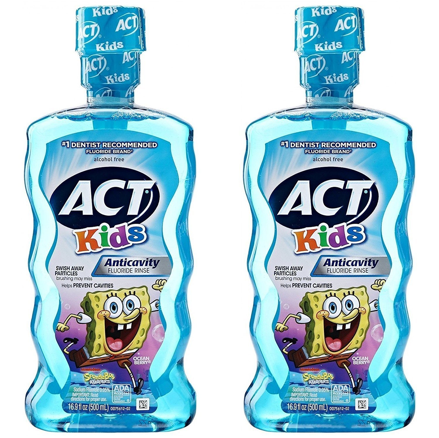 ACT Kids Anti-Cavity Mouthwash, Sponge Bob Squarepants, 16.9 oz. (Pack