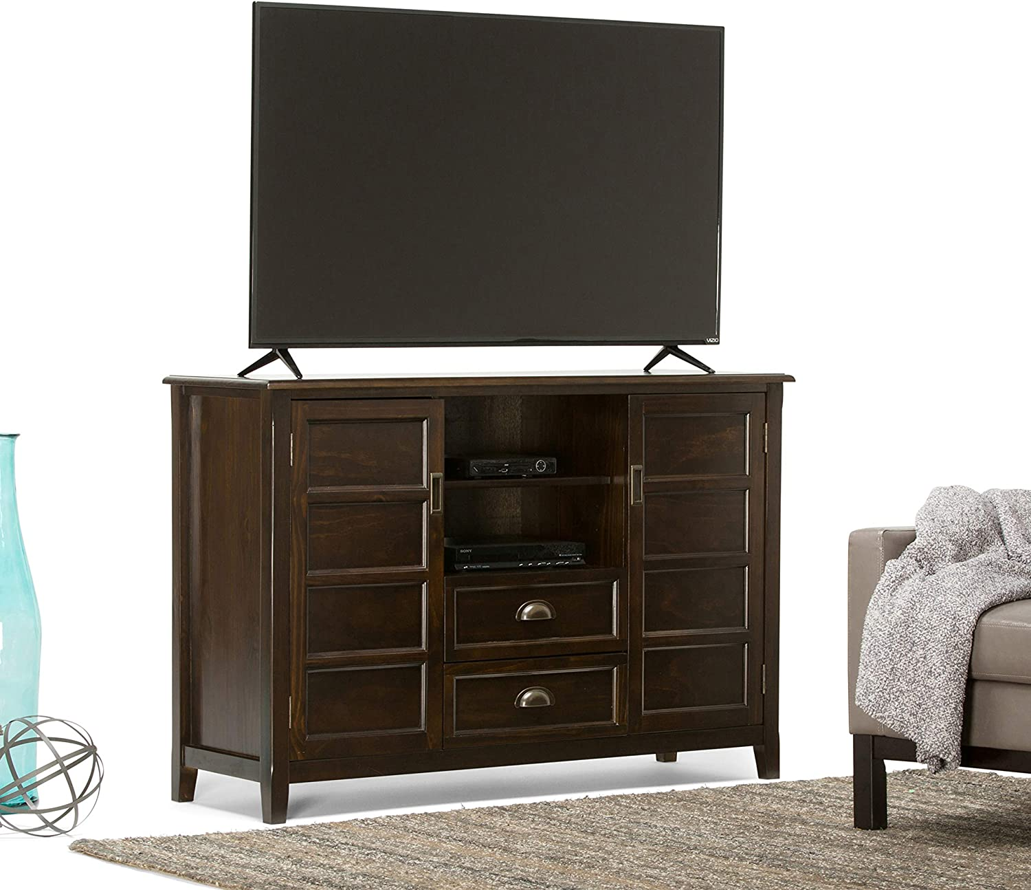Simpli Home Burlington SOLID WOOD Universal Tall TV Media Stand, 54 inch Wide, Traditional, Storage Shelves and Cabinetsfor Flat Screen TVs up to 60 inches Espresso Brown