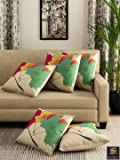 """Romee Multicolor Polyester Jute Fabric Maple Leaves Print Cushion Cover 16"""" x 16"""" (Set of 5)"""